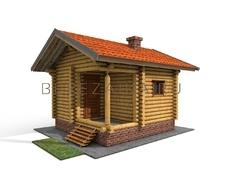 Проект Русская баня 11 (Банька размером 4,5х4,5, с в комнатой отдыха, парной и крылечком для отдыха)