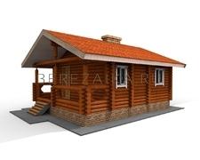 Проект Гостевой дом 33 (Небольшой одноэтажный домик из оцилиндрованного бревна)