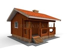 Проект Дачный дом 28 (Дом размером 6х6 с невысокой приземистой крышей и террасой)