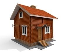 Проект Дачный дом 51 (Двухэтажный дом с кухней, гостиной и санузелом, на втором этаже одна спальня и комната)