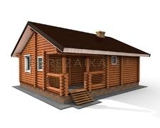 Проект Дом 64 (Одноэтажный дом с двумя спальнями для постоянного проживания, вместительная терраса)