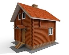 Проект Дачный дом 50 (Дом размером 6х6 с небольшой гостиной, кухней и санузелом, на втором этаже две уютные спальни)