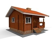 Проект Дачный дом 27 (Небольшой одноэтажный дом с вместительной комнатой, тамбуром и террасой)