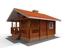 Проект Дачный дом 26 (Симпатичный одноэтажный дом из оцилиндрованного бревна размером 6х6)