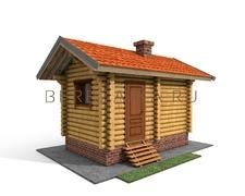 Проект Русская баня 5 (Компактная баня с только необходимыми помещениями - комната отдыха и парная)